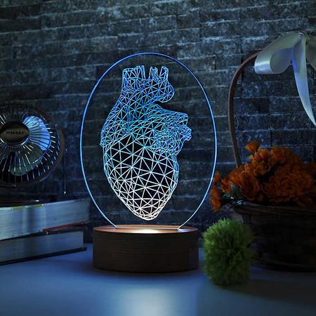 Oval Vertex Kalp Figürlü 3D Lamba - Thumbnail