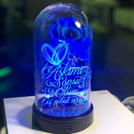 Özel Yazılı Işıklı Mavi Güllü Fanus 21 cm - Thumbnail