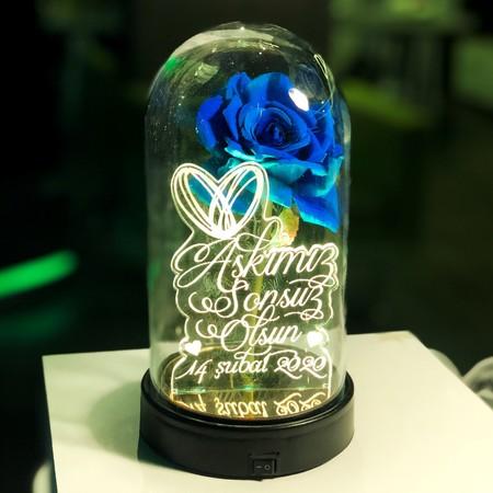 - Özel Yazılı Işıklı Mavi Güllü Fanus 21 cm