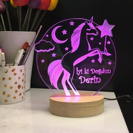 - Pegasus Modelli Doğum Günü Şablonlu 3D Led Lamba