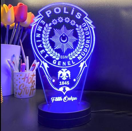 - Kişiye Özel 3D Polis Amblemli Led Lamba