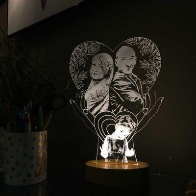Kişiye Özel Resimli El Figürlü Kalp Aydınlatma Lambası