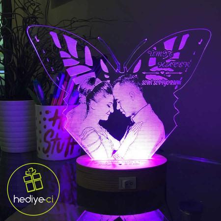 Kişiye Özel Resimli Kelebek Figürlü Aydınlatma Lambası - Thumbnail