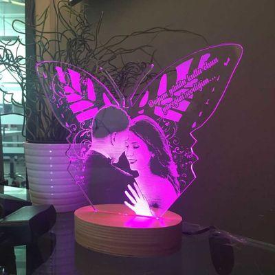 Kişiye Özel Resimli Kelebek Figürlü Aydınlatma Lambası