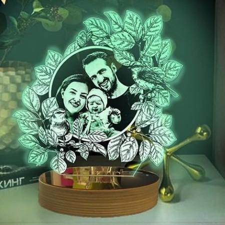 - Sarmal Yapraklı Kişiye Özel 3D Lamba