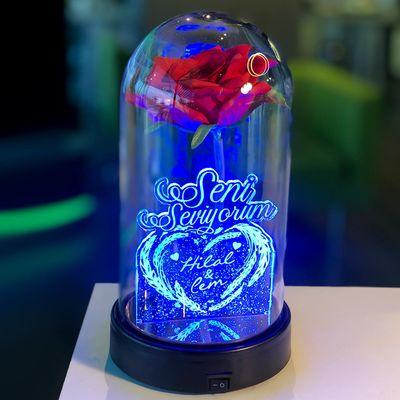 Seni Seviyorum İsme Özel Işıklı Kırmızı Güllü Fanus 21 cm