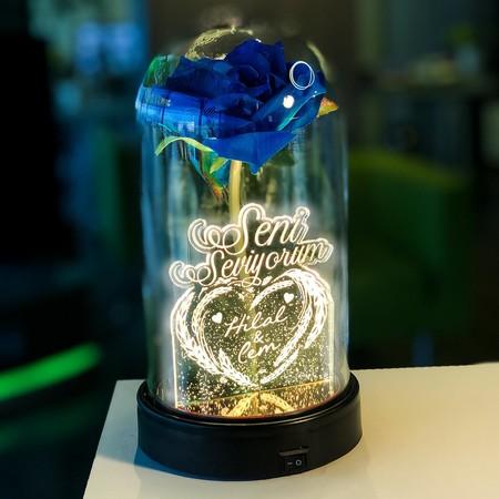- Seni Seviyorum İsme Özel Işıklı Mavi Güllü Fanus 21 cm