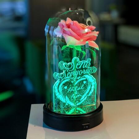 Seni Seviyorum İsme Özel Işıklı Pembe Güllü Fanus 21 cm - Thumbnail