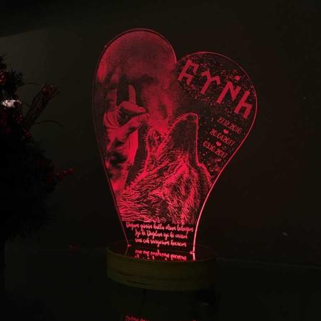 Yamuk Kalp Modelli Kişiye Özel 3D Lamba - Thumbnail