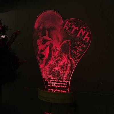 Yamuk Kalp Modelli Kişiye Özel 3D Lamba