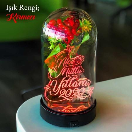 - Yeni Yıl Yazılı Işıklı Çiçekli Fanus 21 cm