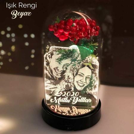- Yılbaşı Temalı Cam Kavanoz 21 cm Kişiye Özel Led Aydınlatma