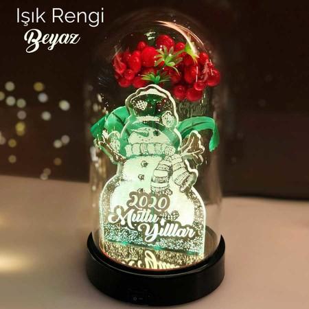 - Yılbaşı Temalı Kardan Adam Figürlü Işıklı Çiçekli Fanus 21 cm