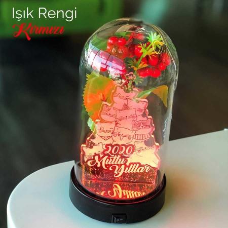 - Yılbaşı Temalı Kedili Çam Ağcı Figürlü Işıklı Çiçekli Fanus 21 cm