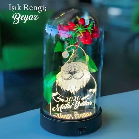 - Yılbaşı Temalı Noel Baba Figürlü Işıklı Çiçekli Fanus 21 cm