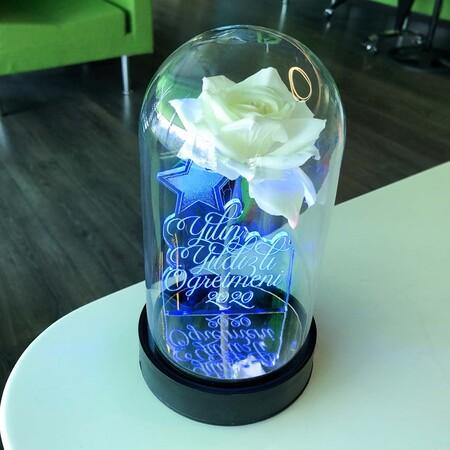 Yılın Yıldızlı Öğretmeni Cam Fanus Kişiye Özel Yazılı Lamba Beyaz Gül 21 cm - Thumbnail