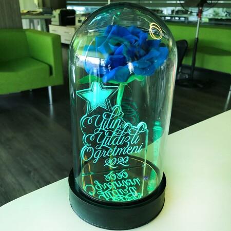 - Yılın Yıldızlı Öğretmeni Cam Fanus Kişiye Özel Yazılı Lamba Mavi Gül 21 cm